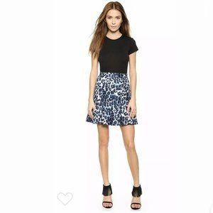 DVF blue leopard print pleated skirt